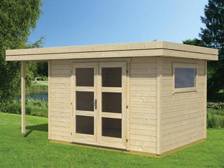 Preiswertes gartenhaus sumatra 2 mit 28 mm starken wandbohlen - Gartenhaus mit 2 eingangen ...