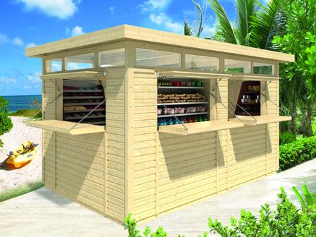 preiswerter kiosk c mit dach und wandelementen. Black Bedroom Furniture Sets. Home Design Ideas